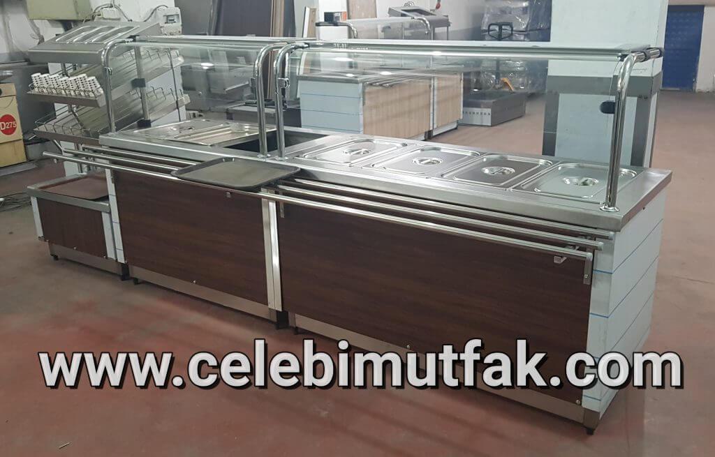 MDF kaplı paslanmaz elektrikli self servis tezgahı benmari