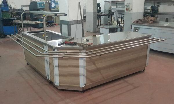 Özel üretim L şeklinde benmari yemek servis ısıtıcı tezgah